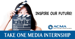 Photo including Take One Banner and ACMA Logo