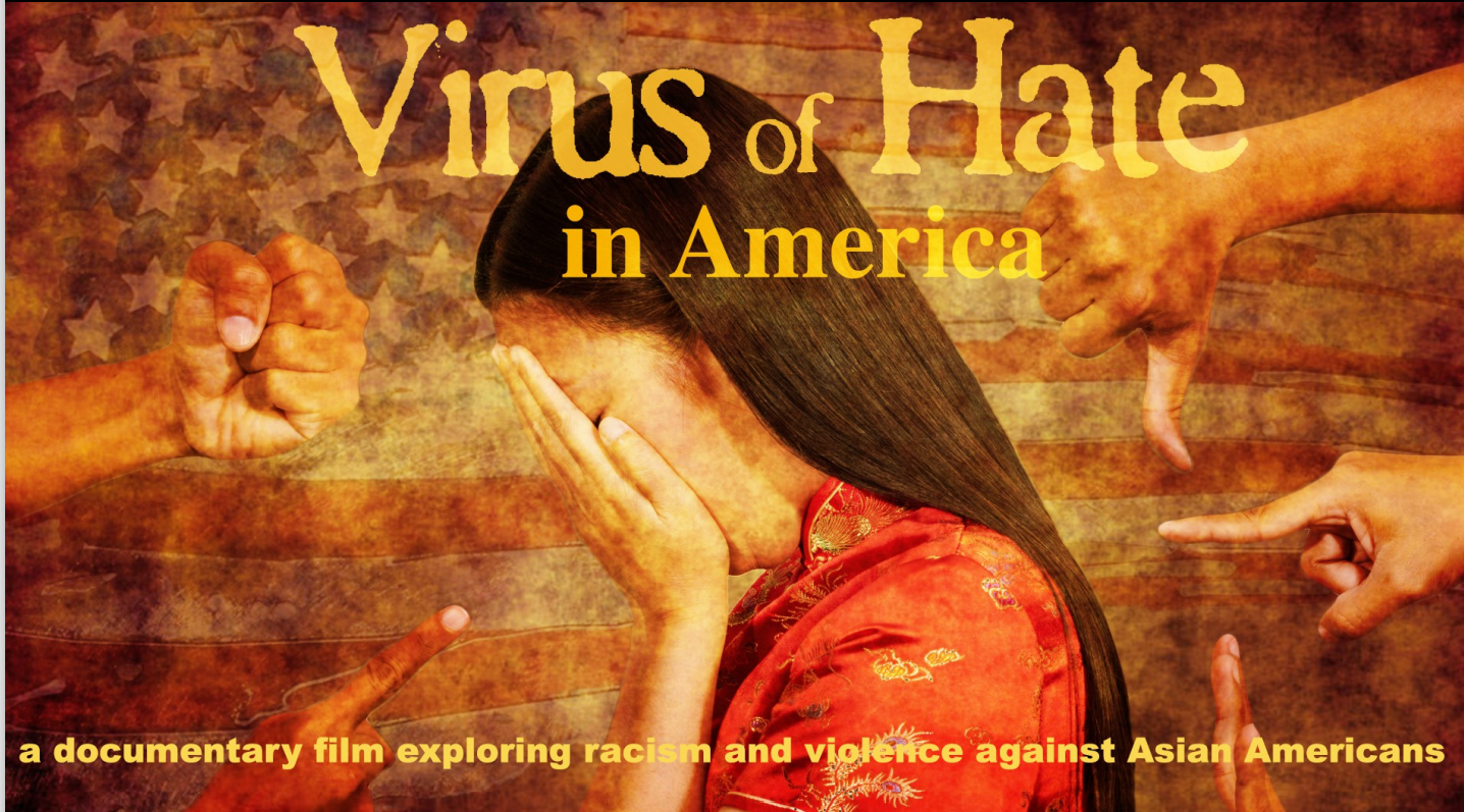 Text: Virus of Hate in American Pictured: Asian Girl covering face, surrounded by pointing fingers and fists